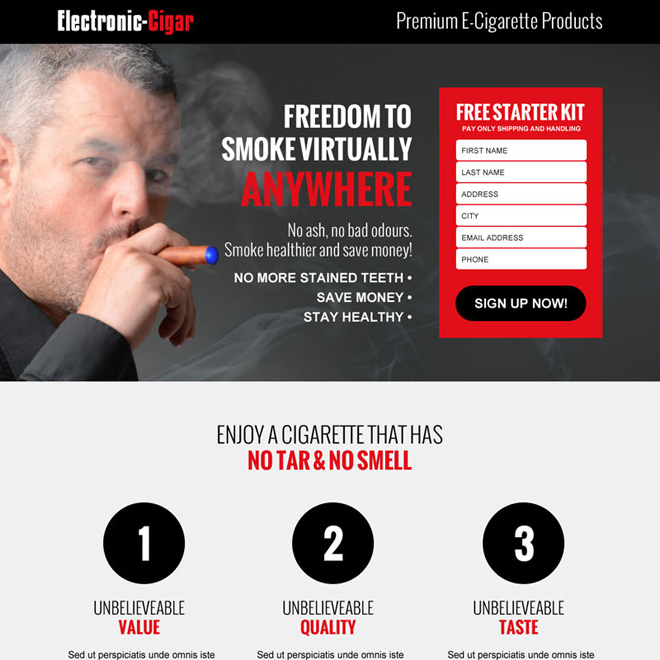 electronic cigarette free kit lead capture landing page design template E Cigarette example