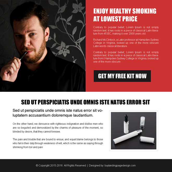 electronic cigarette ppv landing page design E Cigarette example