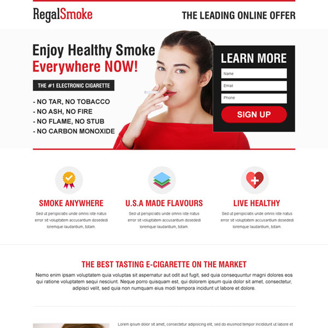 lead capture e-cigarette responsive landing page E Cigarette example