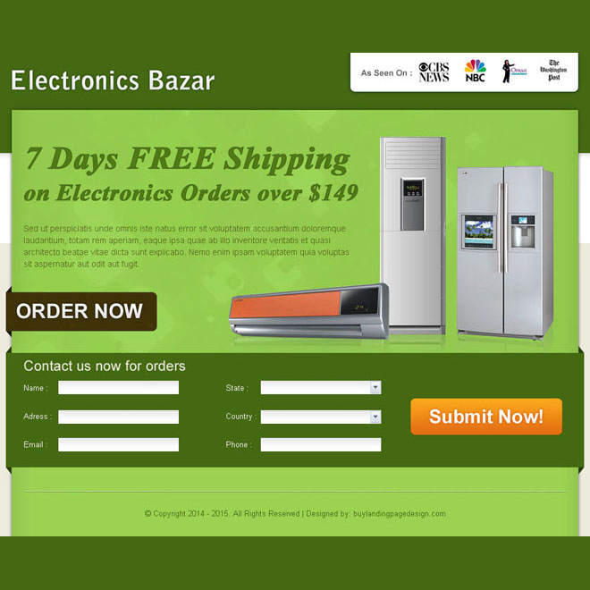 electronics product selling lead capture landing page design for sale Electronics example