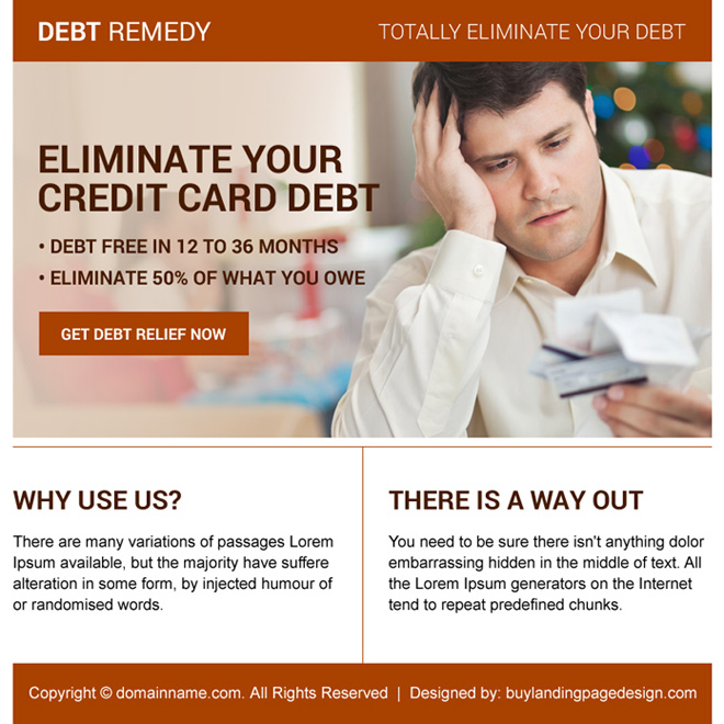 credit card debt relief ppv landing page design Debt example