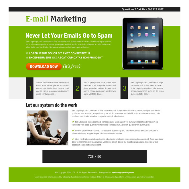 email marketing ppc landing page design templates Pay Per Click example