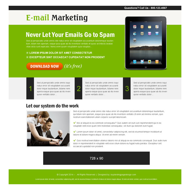email marketing ppc landing page design Marketing example