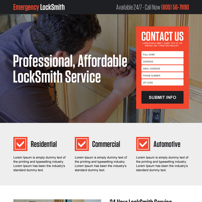 affordable locksmith  service lead gen responsive landing page Locksmith example