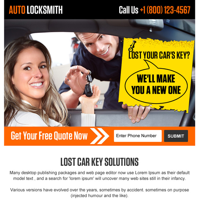 emergency auto locksmith ppv landing page Locksmith example