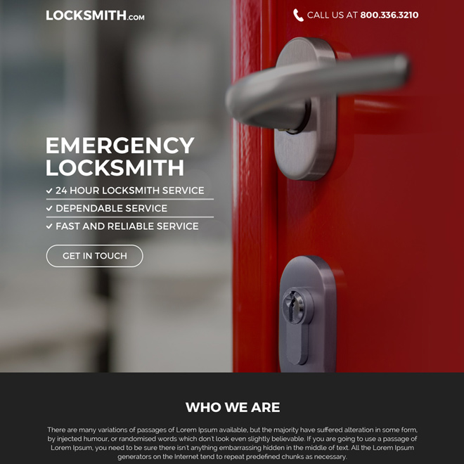 emergency locksmith service bootstrap landing page Locksmith example