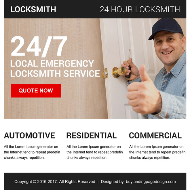 emergency locksmith service ppv landing page Locksmith example