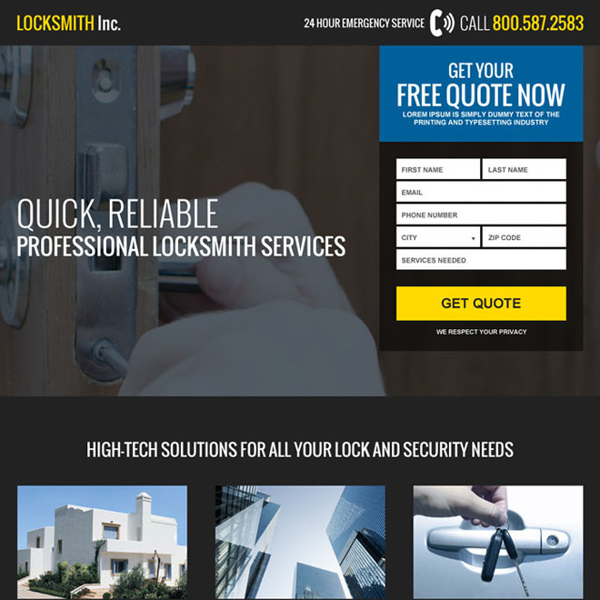 emergency locksmith service usa responsive landing page Locksmith example