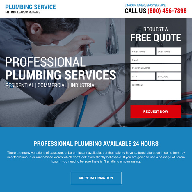 emergency plumbing service responsive landing page design Plumbing example