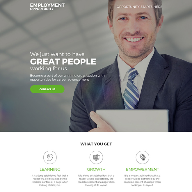 employment opportunity for career responsive landing page Employment Opportunity example