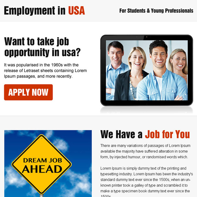 employment opportunity in usa ppv landing page design Employment Opportunity example