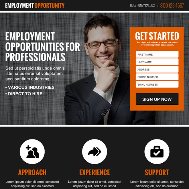 employment opportunity lead gen converting landing page design Employment Opportunity example