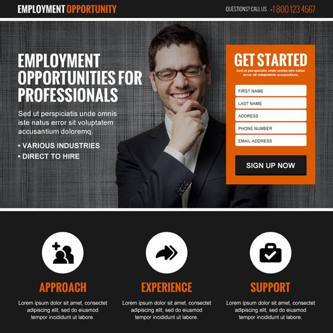 employment opportunity lead gen responsive landing page design template Employment Opportunity example