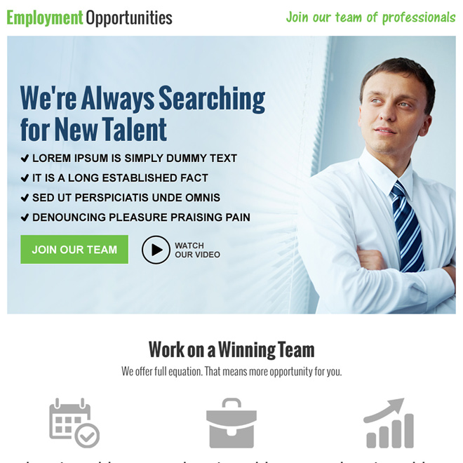 employment opportunity pay per click landing page design Pay Per Click example