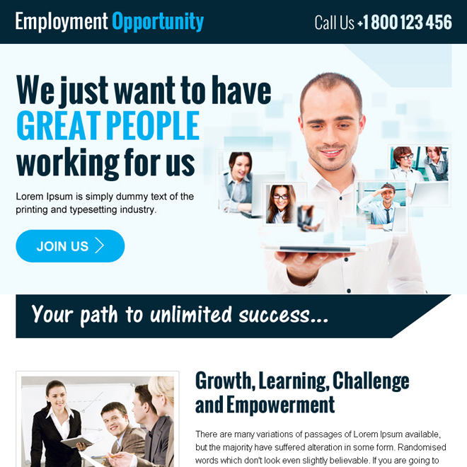 employment opportunity ppv landing page design Employment Opportunity example