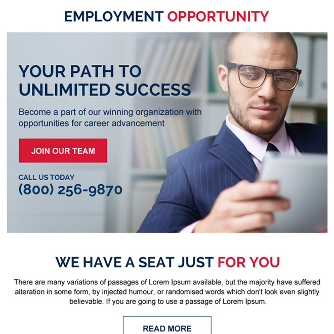 employment opportunity strong call to action ppv landing page Employment Opportunity example