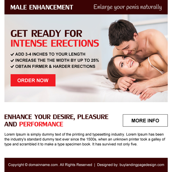 clean and appealing male enhancement ppv landing page design Male Enhancement example