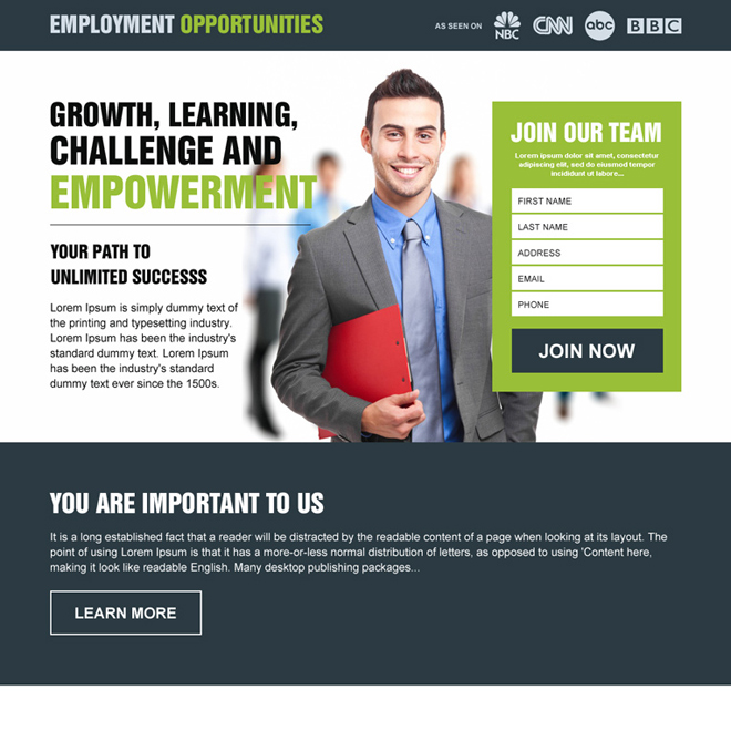 equal employment opportunities lead capture landing page design Employment Opportunity example