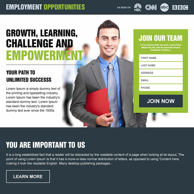 employment opportunity responsive lead generating landing page design Employment Opportunity example
