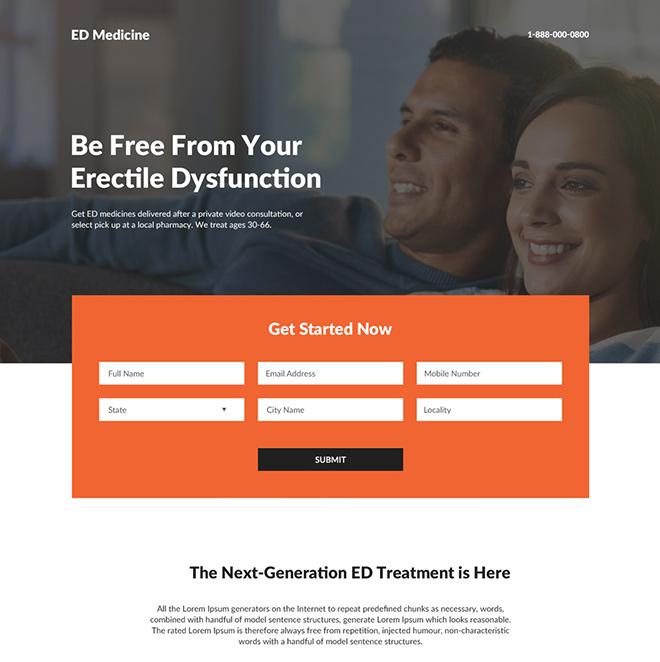 erectile dysfunction lead capture responsive landing page design Male Enhancement example