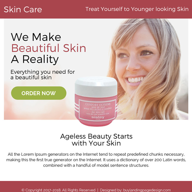skin care product selling ppv landing page design Skin Care example