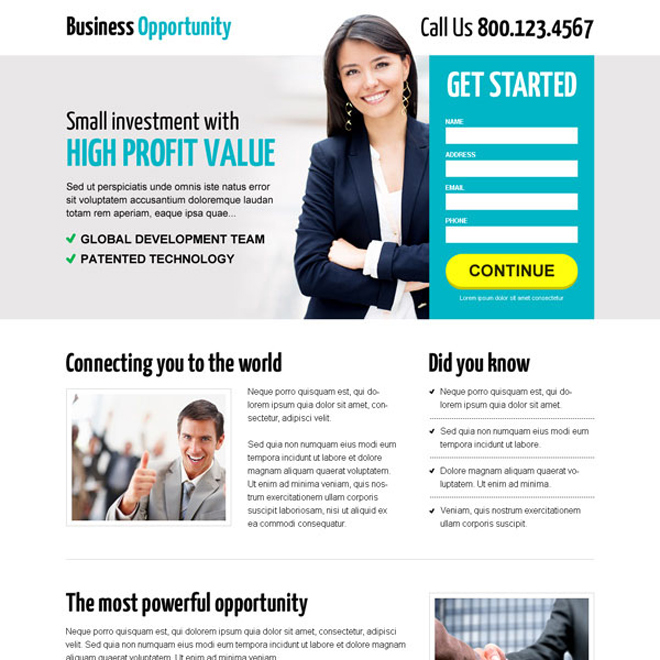 excellent business opportunity lead capture landing page design Business example