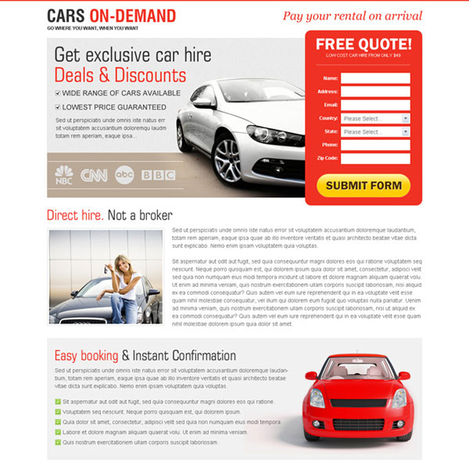 get exclusive car hire deals and discounts very attractive and converting lead capture landing page design Car Hire and Car Rental example