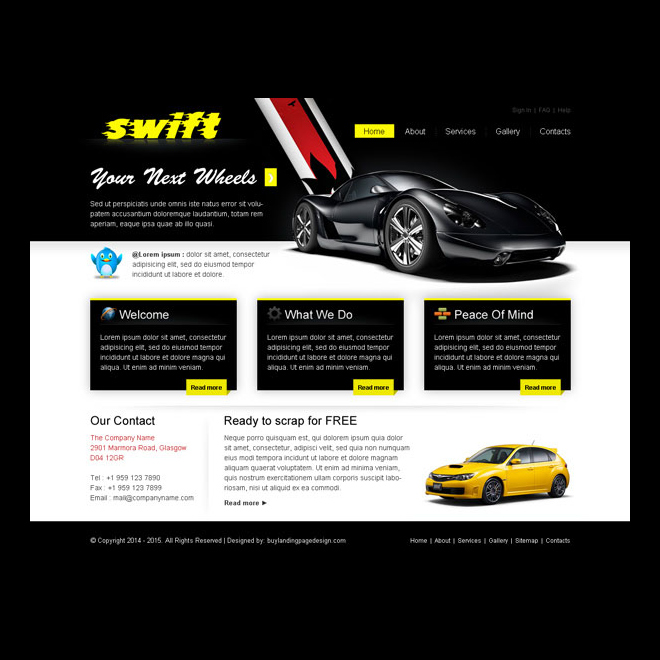 attractive and appealing exclusive car website template design psd Website Template PSD example