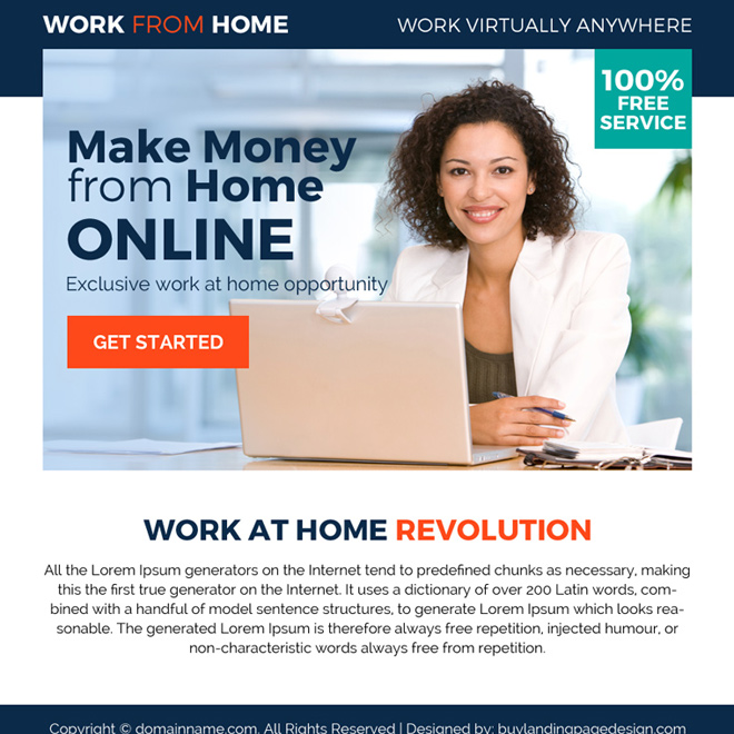 exclusive work from home opportunity ppv landing page design Work from Home example