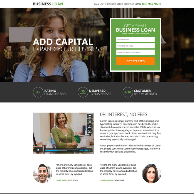 business loan small lead form landing page Business Loan example