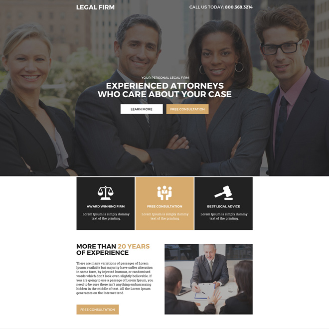 legal firm professional lead capturing landing page design Attorney and Law example