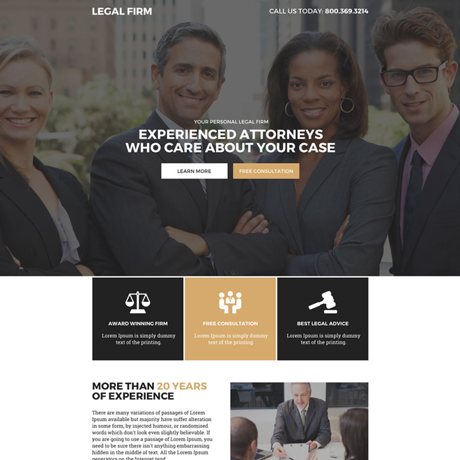 experienced attorneys free consultation responsive landing page design Attorney and Law example