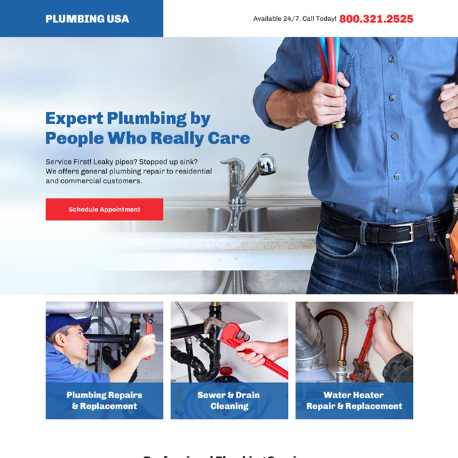 professional plumbing service bootstrap landing page Plumbing example