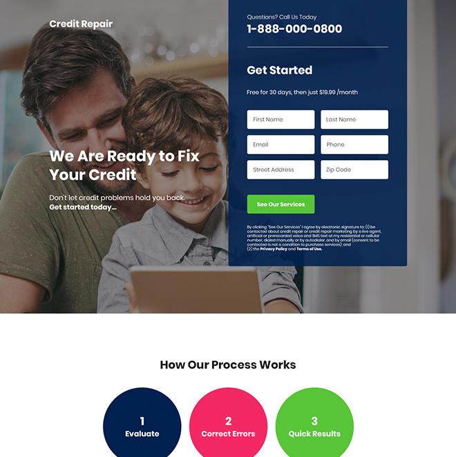 credit repair service lead capture landing page Credit Repair example