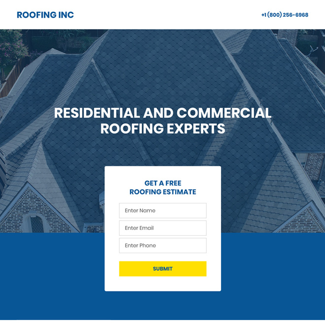residential and commercial roofing expert minimal landing page Roofing example