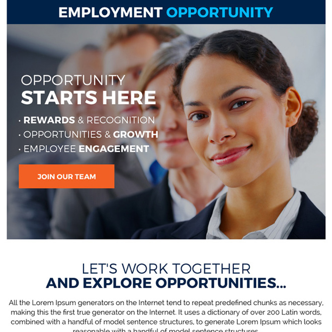 employment opportunity sign up capturing ppv landing page design Employment Opportunity example