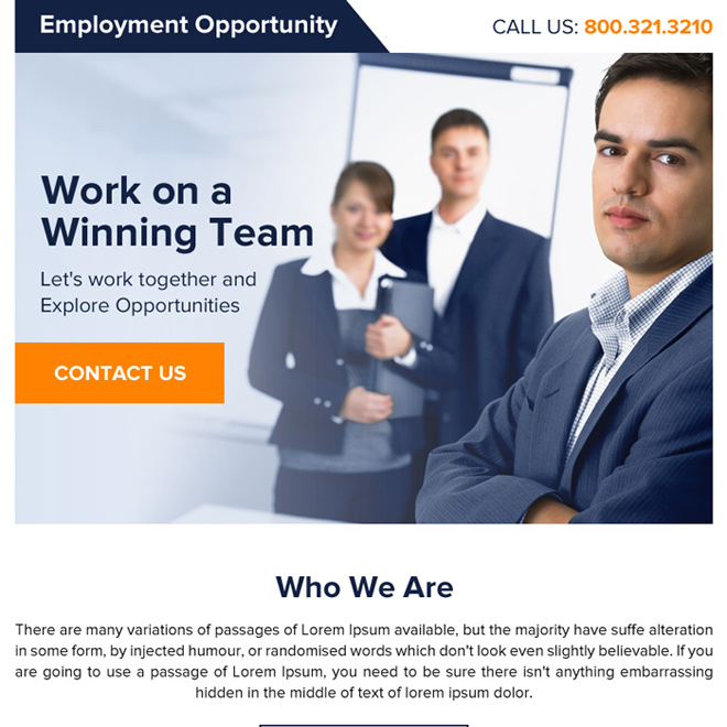 clean employment opportunity ppv landing page design Employment Opportunity example
