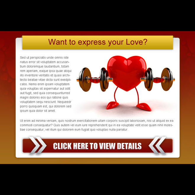 express your love strong call to action ppv landing page design Dating example