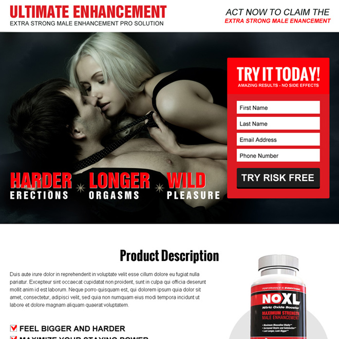 ultimate male enhancement lead capture converting landing page design Male Enhancement example