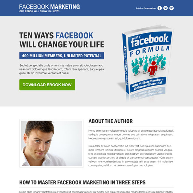 facebook marketing clean and converting responsive landing page design template Ebook example