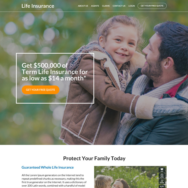 term life insurance free quote lead capturing website design Life Insurance example