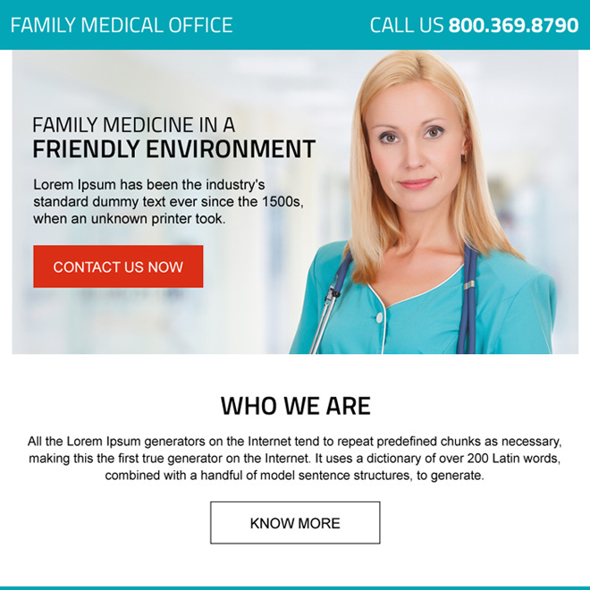 family medical office professional ppv landing page design Medical example
