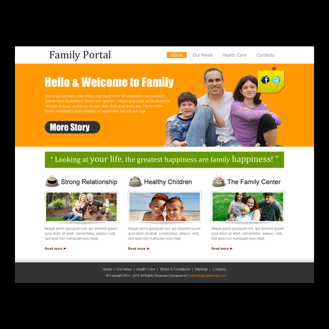family portal clean and attractive website template design psd to create website for your family Website Template PSD example