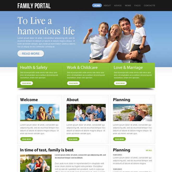 highly effective and converting family portal website template design psd Website Template PSD example
