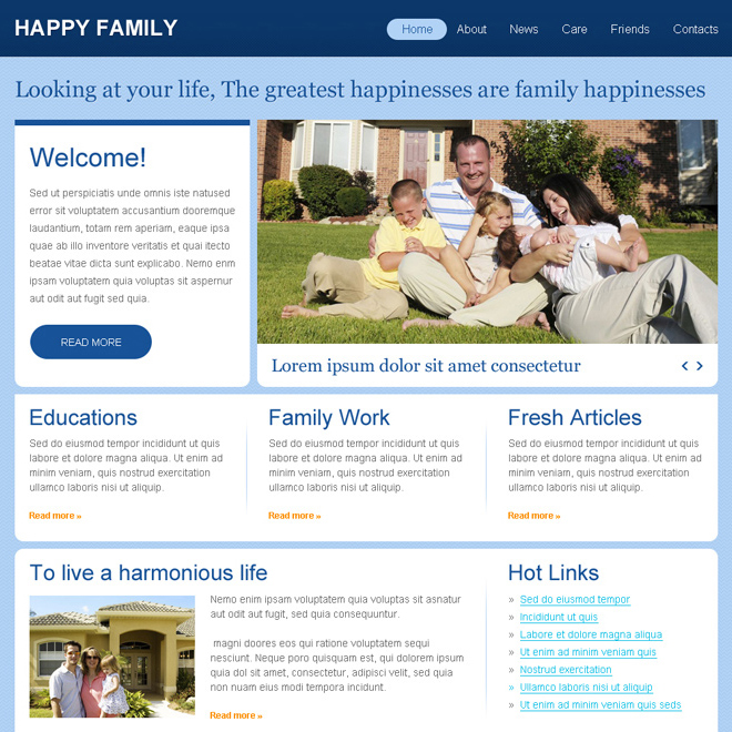 affordable family website template psd for sale Website Template PSD example