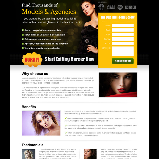 start exciting career in modeling now clean and effective splash page design Fashion and Modeling example