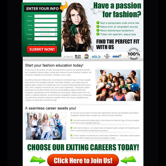 passion for fashion career lead capture page design Fashion and Modeling example
