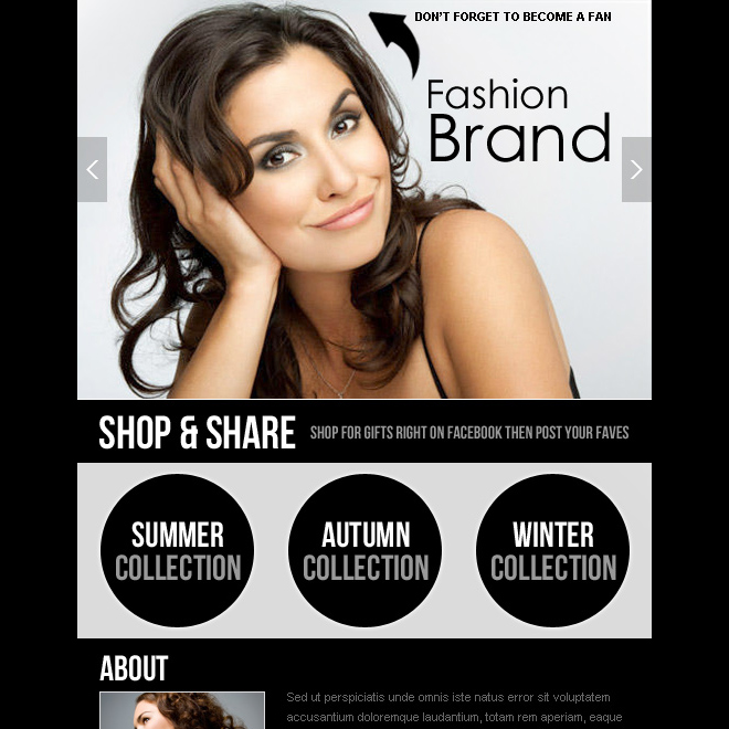 fashion collection facebook fan page html design PPV Landing Page example