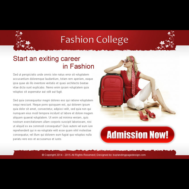 exciting career in fashion college attractive and converting ppv landing page design template Fashion and Modeling example