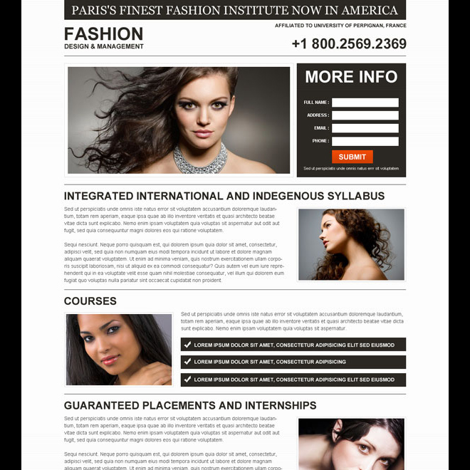 fashion institute minimal and clean lead generation landing page design Fashion and Modeling example